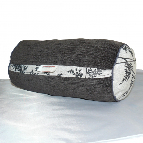 coussin, polochon, cale nuque, lin, coussin rond, coussin lin, velours, coussin velours, linge maison, canapé, anthracite
