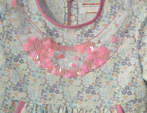 robe broderie, robe broderie Lunéville, robe petite fille, robe sur mesure petite fille, point Beauvais, broderie perlée Lunéville, crochet Lunéville, paillettes, point vermicelle
