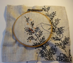 lin, broderie lin, broderie aiguille, coussin, broderie coussin