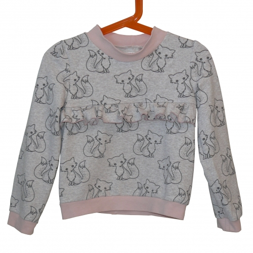 sweat fille, sweat 5 ans, sweat molleton, sweat renard, tissu renard, molleton renard, couture enfant, faire sweat fille