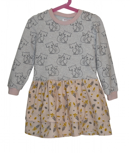 robe sweat fille, robe sweat 5 ans, sweat molleton, sweat renard, tissu renard, molleton renard, couture enfant, faire robe sweat fille